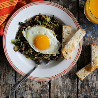 Mushroom and Brussels Sprout Hash.