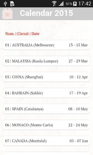 Formula Sport - 2015 Calendar