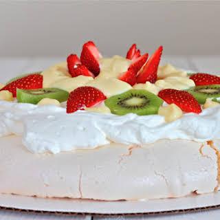 Pavlova Style Meringue Dessert with Vanilla Custard.