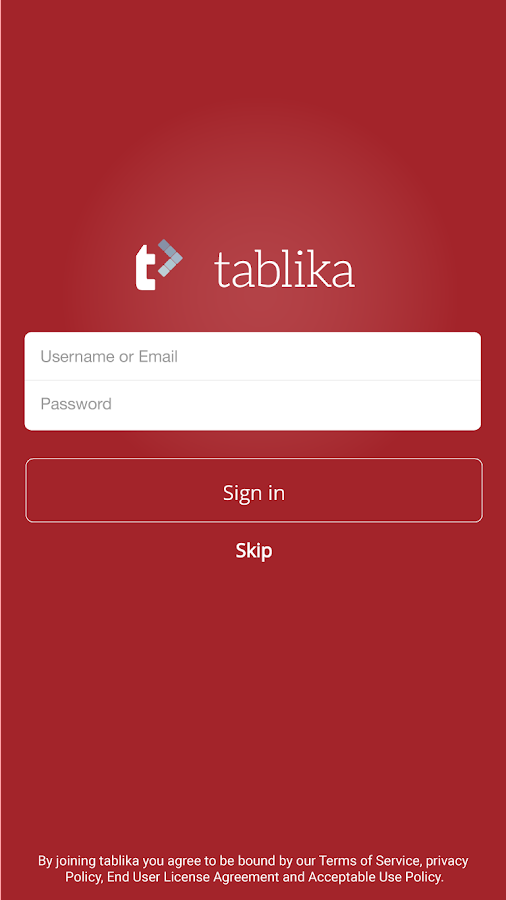 Tablika- screenshot
