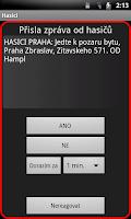 Screenshot of SMS od hasičů