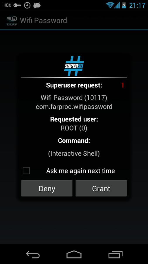 grant root access in android wifi password application
