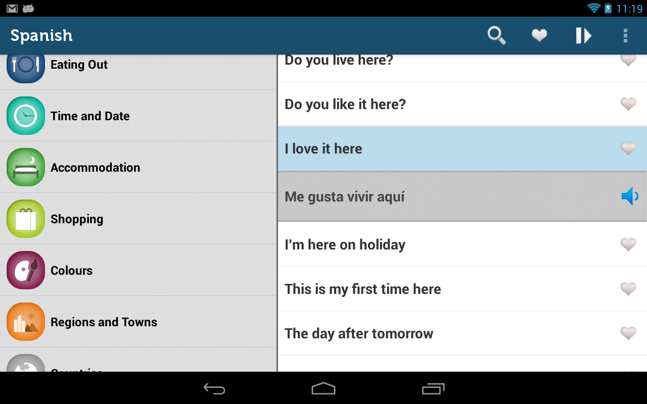 Learn Spanish Phrasebook Pro- screenshot