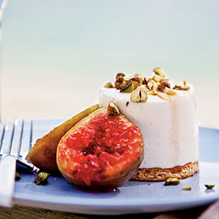 Sheep's-Milk Yogurt Cheesecakes with Grilled Figs and Pistachios.