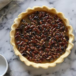 Bourbon Pecan Pie with Dark Chocolate.