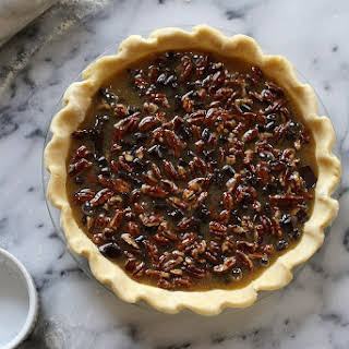 Bourbon Pecan Pie with Dark Chocolate.