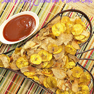 Sweet and Spicy Jicama and Plantain Chips.