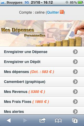 Gestion du Budget & Dépenses - screenshot