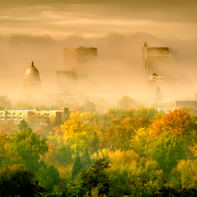 City of Boise Idaho in the Fog Autumn by Charles Knowles - City,  Street & Park  Skylines ( hills, boise, skyline, green, yellow, morning, city, idaho, sky, red, autumn, fog, buildings, trees, town )
