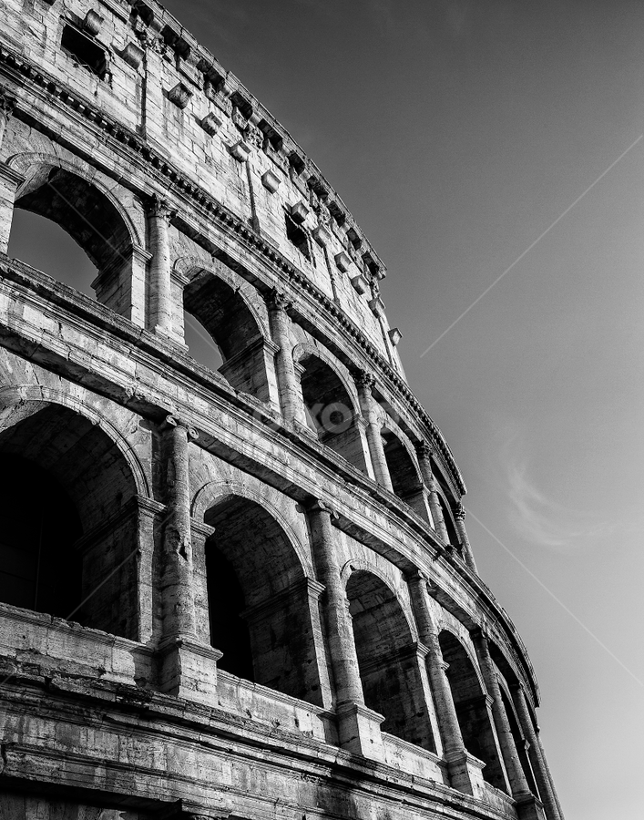The Colosseum by Kevin Egan - Black & White Buildings & Architecture ( colosseum, b&w, rome, travel, italy,  )
