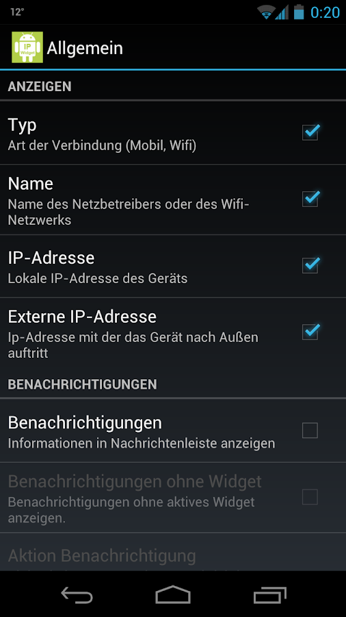 IP Widget - screenshot