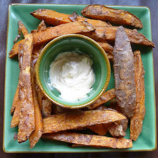 Spicy, Crispy, Guilt Free Sweet Potato Fries And Chipotle Mayo.