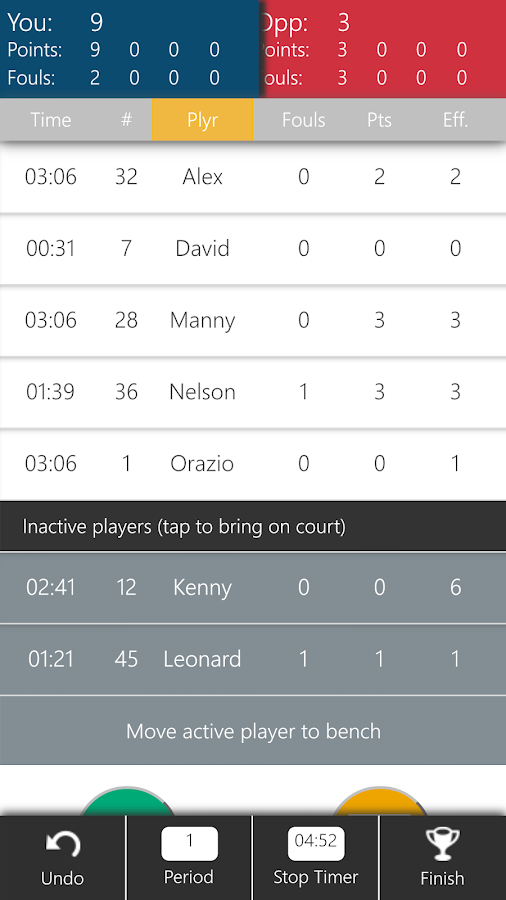Basketball Stats Keeper - screenshot