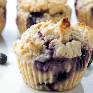 BLUEBERRY FLAX MUFFINS.