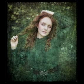 Portrait in Green by Joan Blease - Digital Art People ( creative, pre-raphaelite, woman, green, textures )