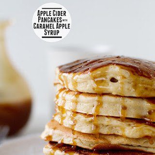 Apple Cider Pancakes with Caramel Apple Syrup