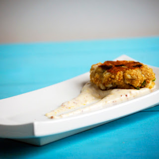 Flying Dog Dead Rise Crab Cakes with Old Bay Aioli.