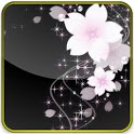 soft pink flowers glitter lwp icon