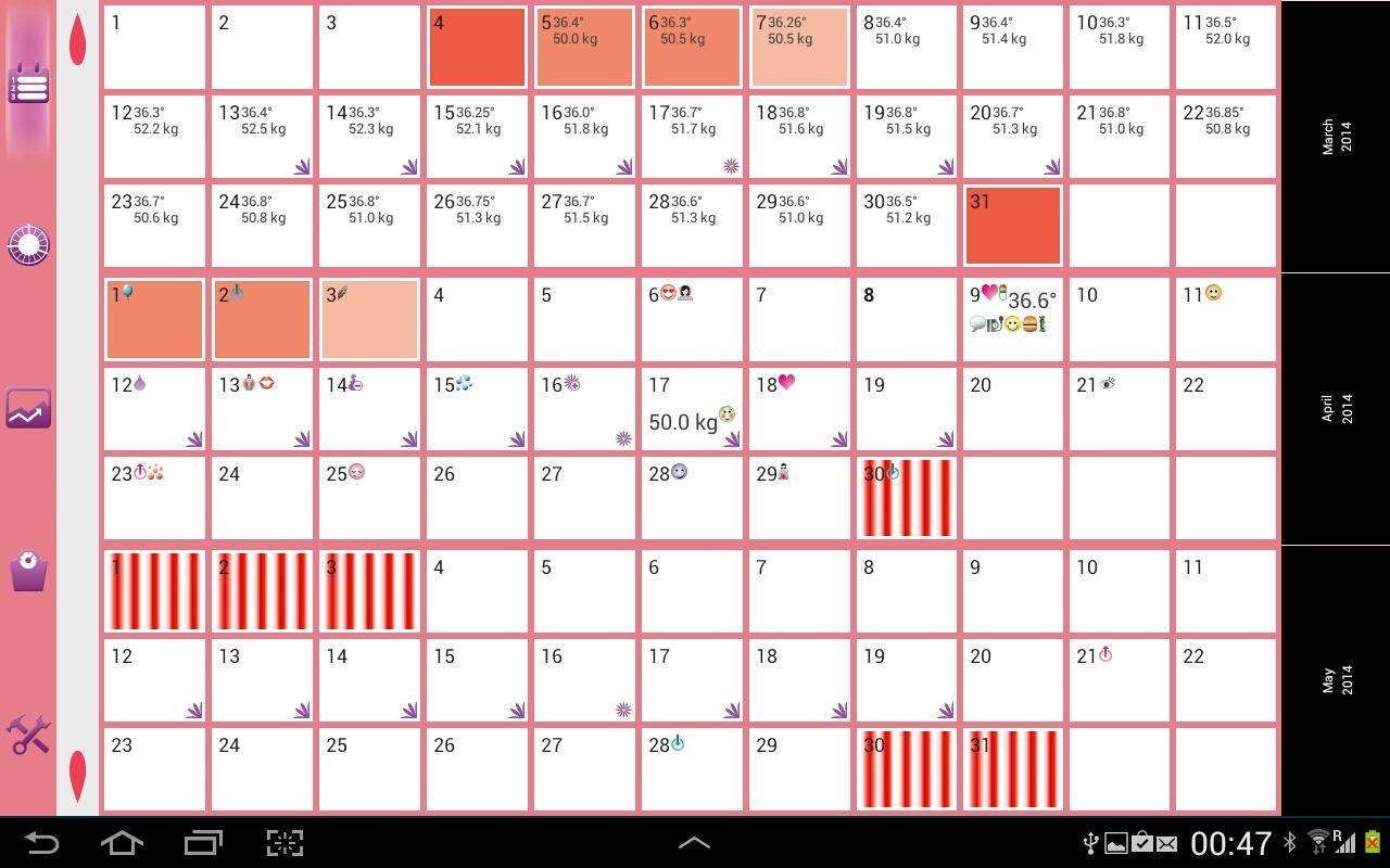 WomanLog Pro Calendar - screenshot