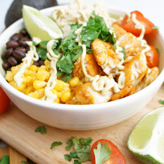 Spicy Tilapia Bowls with Avocado Chipotle Cream Sauce.