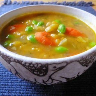 Yellow Split Pea Soup with Dill & Edamame