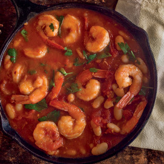 Garlic Shrimp with White Beans and Tomatoes.