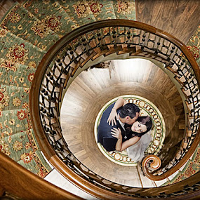 Circle of Love by Alan Evans - Wedding Bride & Groom ( wedding photography, stairs, spiral staircase, looking down, wedding day, wedding, staircase, aj photography,  )