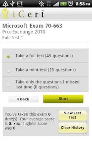 iCert 70-640 Practice Exam - screenshot thumbnail