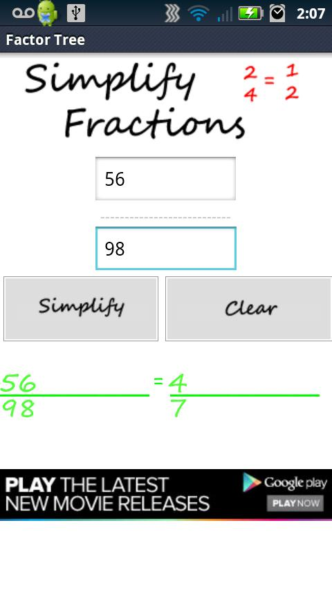 Factor Tree- screenshot