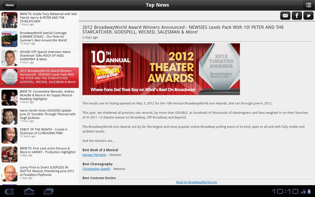 BroadwayWorld - screenshot
