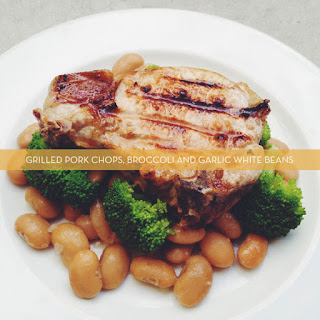 Grilled Pork Chops, Broccoli and Garlic White Beans