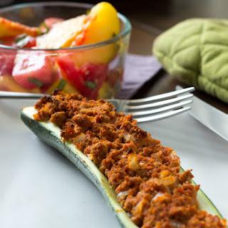 Italian-Seasoned Turkey Zucchini Boats.