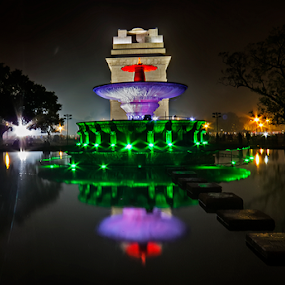 India Gate by Kallol Bhattacharjee - City,  Street & Park  Historic Districts ( reflection, night photography, india )
