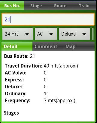 MTC bus route - screenshot