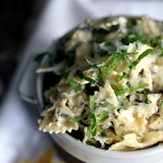 Quick and Easy Chicken Artichoke Spinach Pasta.