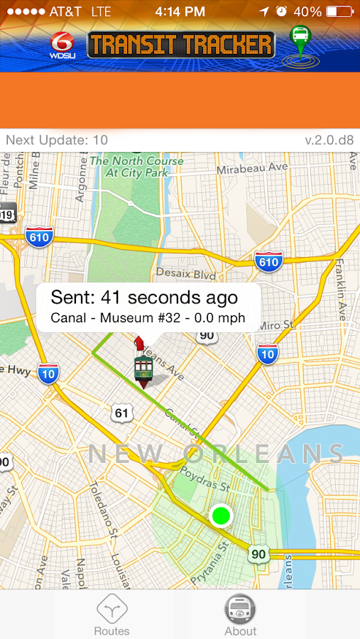 WDSU Transit Tracker- screenshot