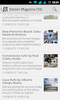 Screenshot of Dezeen Magazine RSS Reader