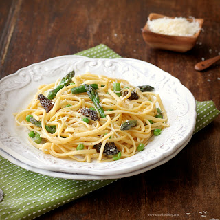 Linguine with Asparagus, Morels and Fava Beans.