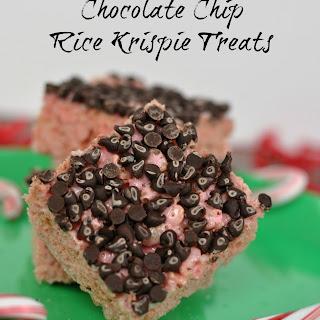 Peppermint Chocolate Chip Rice Krispie Treats.