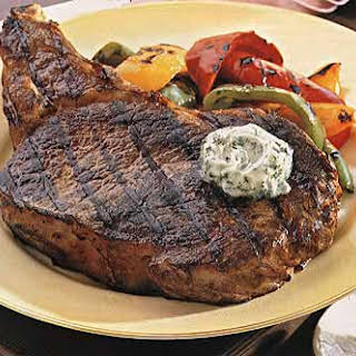 Rib-Eye Steaks with Bell Peppers and Gorgonzola Butter.
