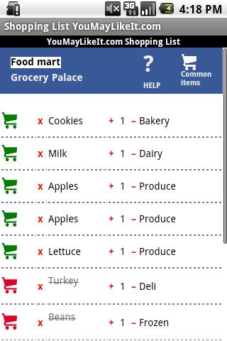 Shopping List YouMayLikeIt.com - screenshot