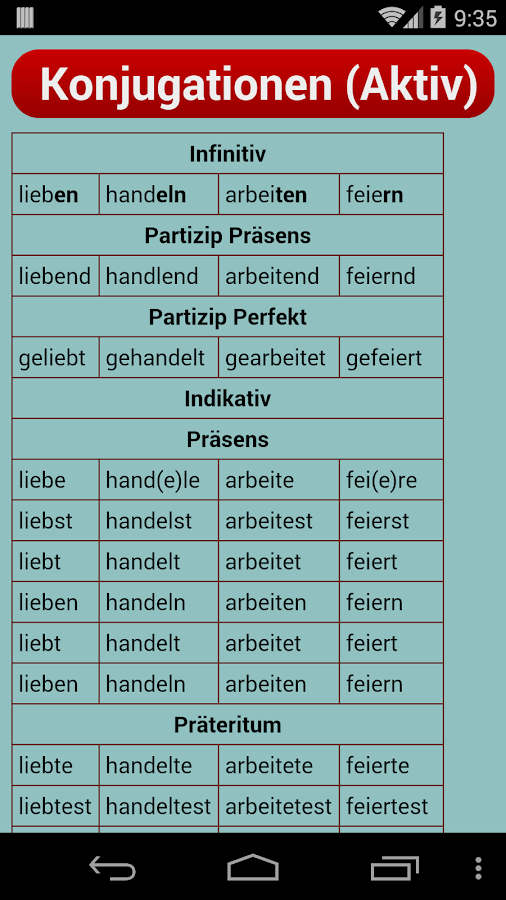 German Verb Trainer- screenshot