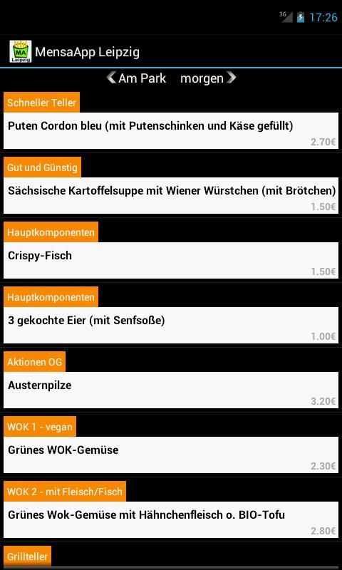 MensaApp Leipzig- screenshot