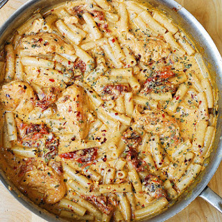 Chicken Mozzarella Pasta with Sun-Dried Tomatoes.
