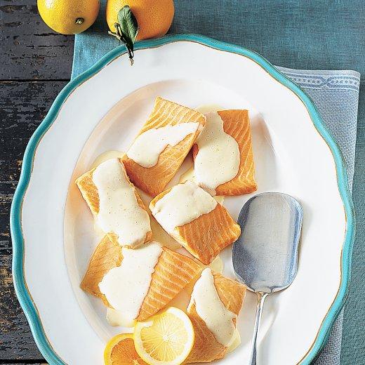 Salmon with Tangerine-Lemon Hollandaise Sauce Recipe