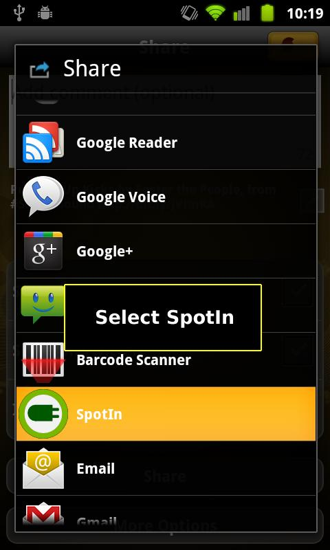 SpotIn - Spotify Quick Search - screenshot