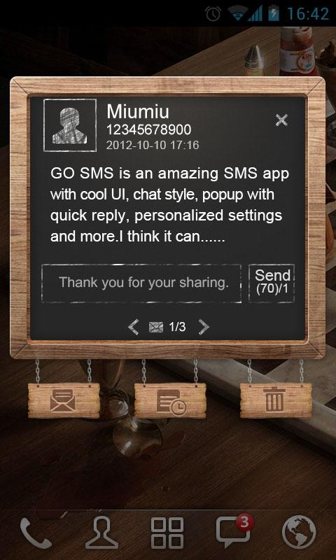 GO SMS Pro BlackBoard PopupThe - screenshot