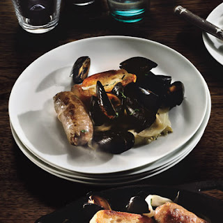 Steamed Mussels with Sausages and Fennel.