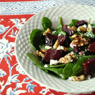 Spinach Salad with Beets and Walnuts.