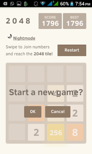 2048 with Nightmode Fullscreen screenshot